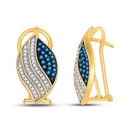 1/2 CTW Womens Round Blue Color Enhanced Diamond Fashion Earrings 10kt Yellow Gold - REF-29M9F