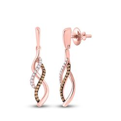 1/5 CTW Womens Round Brown Diamond Dangle Earrings 14kt Rose Gold - REF-27Y3N