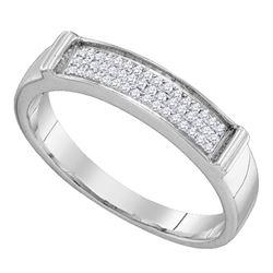 1/10 CTW Womens Round Diamond Band Ring 10kt White Gold - REF-10V9Y