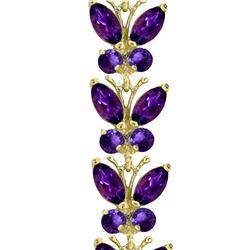 Genuine 16.5 ctw Amethyst Bracelet 14KT White Gold - REF-179N2R