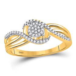 1/6 CTW Womens Round Diamond Circle Cluster Strand Ring 10kt Yellow Gold - REF-23M3F