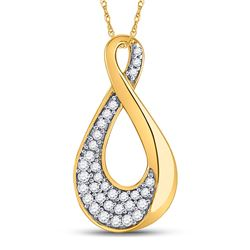 1/8 CTW Womens Round Diamond Teardrop Cluster Pendant 10kt Yellow Gold - REF-13X5T