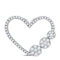 3/8 CTW Womens Round Diamond Fashion Heart Pendant 10kt White Gold - REF-29A9M