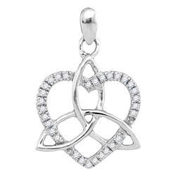 1/10 CTW Womens Round Diamond Triquetra Heart Pendant 10kt White Gold - REF-9A5M