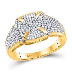 1/2 CTW Womens Round Diamond Square Cluster Ring 10kt Yellow Gold - REF-45M2F