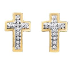 1/10 CTW Womens Round Diamond Cross Earrings 10kt Yellow Gold - REF-13F2W