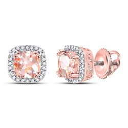 1 CTW Womens Cushion Morganite Diamond Halo Earrings 10kt Rose Gold - REF-34R3X