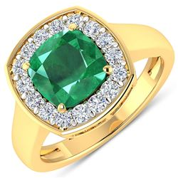 Natural 2.48 CTW Zambian Emerald & Diamond Ring 14K Yellow Gold - REF-108X7K