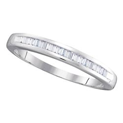 1/4 CTW Womens Baguette Diamond Wedding Anniversary Band Ring 10kt White Gold - REF-19R3X