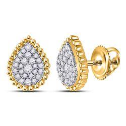 1/4 CTW Womens Round Diamond Teardrop Earrings 10kt Yellow Gold - REF-24V5Y