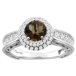 1.50 CTW Quartz & Diamond Ring 14K White Gold - REF-91K8W