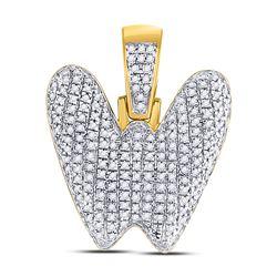 1/2 CTW Mens Round Diamond Bubble W Letter Charm Pendant 10kt Yellow Gold - REF-35X4T
