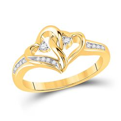 1/10 CTW Womens Round Diamond Double Heart Ring 10kt Yellow Gold - REF-25Y3N