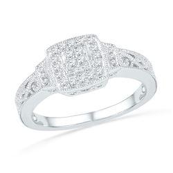 1/5 CTW Womens Round Diamond Square Cluster Ring 10kt White Gold - REF-23T9V