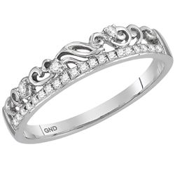 1/12 CTW Womens Round Diamond Floral Accent Stackable Band Ring 14kt White Gold - REF-23A3M