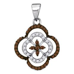 1/4 CTW Womens Round Brown Diamond Quatrefoil Cluster Pendant 10kt White Gold - REF-12V2Y