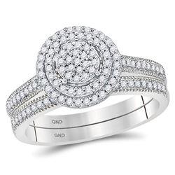 1/3 CTW Round Diamond Cluster Bridal Wedding Ring Band Set 10kt White Gold - REF-34V3Y