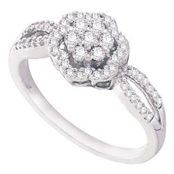 1/3 CTW Womens Round Diamond Flower Cluster Ring 10kt White Gold - REF-28V2Y
