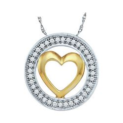 1/10 CTW Womens Round Diamond Encircled Heart Pendant 10kt Two-tone White Gold - REF-10F3W