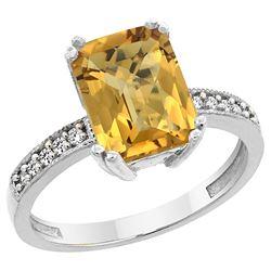 3.70 CTW Quartz & Diamond Ring 10K White Gold - REF-31W3F