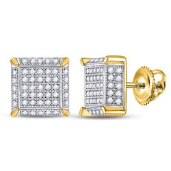 1/2 CTW Mens Round Diamond 3D Square Cluster Earrings 10kt Yellow Gold - REF-42H2R