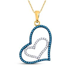 1/4 CTW Womens Round Blue Color Enhanced Diamond Heart Pendant 10kt Yellow Gold - REF-13H5R