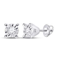 1/20 CTW Womens Round Diamond Stud Earrings 10kt White Gold - REF-6A7M
