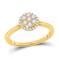 1/3 CTW Womens Round Diamond Halo Flower Cluster Ring 14kt Yellow Gold - REF-47M6F