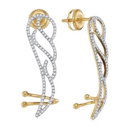 1/3 CTW Womens Round Diamond Angel Wing Climber Earrings 10kt Yellow Gold - REF-34X3T