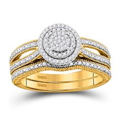 1/3 CTW Round Diamond Cluster Bridal Wedding Ring 10kt Yellow Gold - REF-38N2A