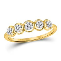 1/10 CTW Womens Round Diamond Cluster Ring 10kt Yellow Gold - REF-14N2A