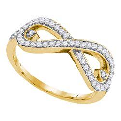 1/3 CTW Womens Round Diamond Infinity Ring 10kt Yellow Gold - REF-31A9M