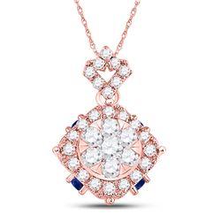 5/8 CTW Womens Round Diamond Blue Sapphire Cluster Pendant 14kt Rose Gold - REF-44X4T