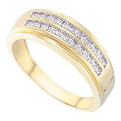 1/4 CTW Mens Round Diamond Wedding 2-Row Band Ring 14kt Yellow Gold - REF-49R6X