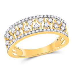 3/8 CTW Womens Round Diamond Fashion Anniversary Ring 14kt Yellow Gold - REF-39Y5N