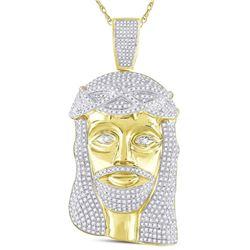 3 CTW Mens Round Diamond Jesus Face Charm Pendant 10kt Yellow Gold - REF-218M2F