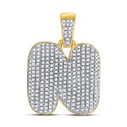 7/8 CTW Mens Round Diamond Bubble N Letter Charm Pendant 10kt Yellow Gold - REF-43H6R