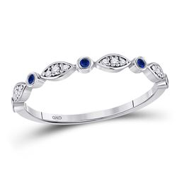 1/10 CTW Womens Round Blue Sapphire Diamond Stackable Band Ring 10kt White Gold - REF-15T2V