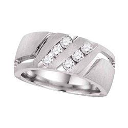 1/2 CTW Mens Round Diamond Wedding Double Row Band Ring 14kt White Gold - REF-133W2H