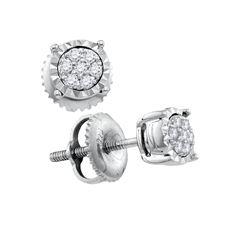 1/10 CTW Womens Round Diamond Flower Cluster Earrings 10kt White Gold - REF-16T4V
