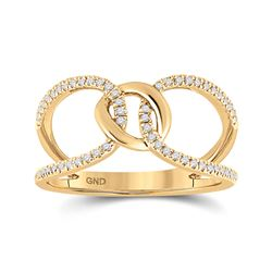 1/6 CTW Womens Round Diamond Negative Space Link Fashion Ring 14kt Yellow Gold - REF-31X4T