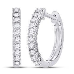 1/3 CTW Womens Round Diamond Hoop Earrings 10kt White Gold - REF-34M3F