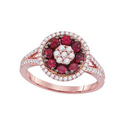 7/8 CTW Womens Round Ruby Diamond Flower Cluster Ring 18kt Rose Gold - REF-109Y2N