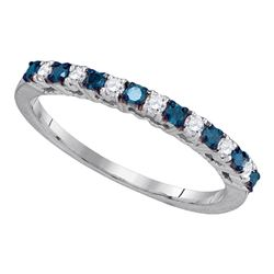 1/4 CTW Womens Round Blue Color Enhanced Diamond Band Ring 10kt White Gold - REF-21T2V