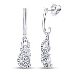 1/5 CTW Womens Round Diamond Dangle Earrings 10kt White Gold - REF-19T2V
