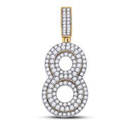 1 & 5/8 CTW Mens Round Diamond Number 8 Charm Pendant 10kt Yellow Gold - REF-102W3H