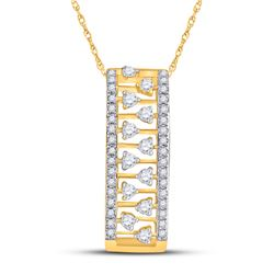 1/3 CTW Womens Round Diamond Rectangular Fashion Necklace 14kt Yellow Gold - REF-37Y5N