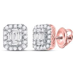 1/2 CTW Womens Baguette Diamond Square Cluster Earrings 14kt Rose Gold - REF-47H6R