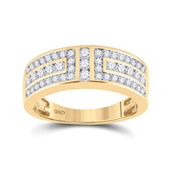 1 CTW Mens Round Diamond Symmetrical Wedding Band Ring 14kt Yellow Gold - REF-95X5T