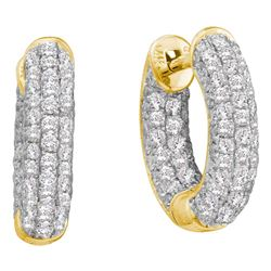 3/4 CTW Womens Round Diamond Huggie Earrings 14kt Yellow Gold - REF-74F9W